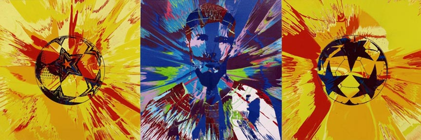 Damien Hirst's portrait triptych of Messi created especially for the UNICEF charity auction, image courtesy of Sotheby's