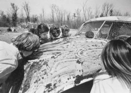 Allan Kaprow's 'Women licking jam off a car,' from his happening 'household' (1964). Image via tate.org.uk