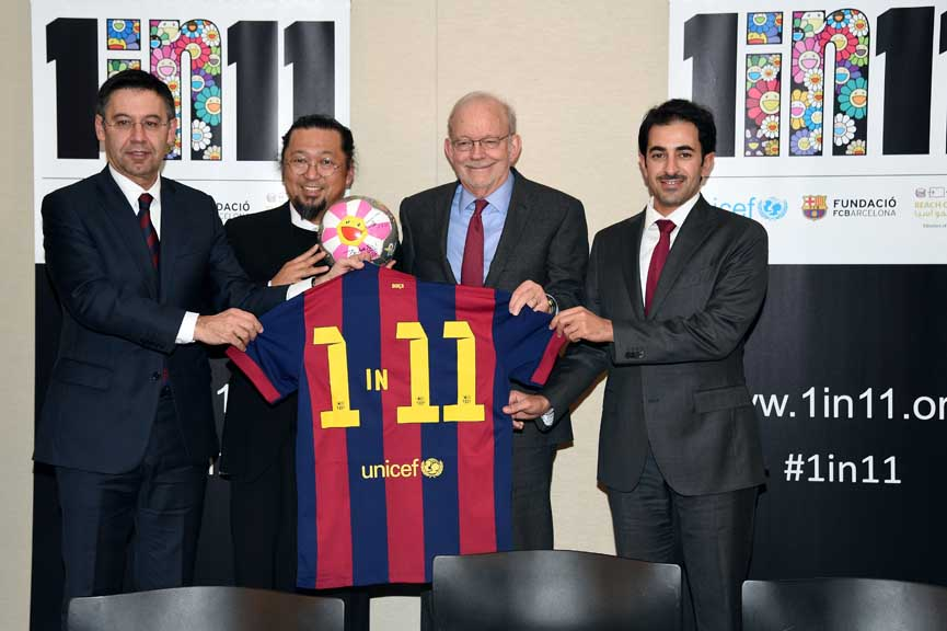 FC Barcelona President Josep Maria Bartomeu, artist Takashi Murakami, UNICEF Executive Director Anthony Lake and ROTA Director Essa Al Mannai support the launch of '1 in 11', a partnership between FC Barcelona Foundation, UNICEF and Reach out to Asia (ROTA) to help children to fulfill their potential through sport and education at Danny Kaye Vistors Centre on January 9, 2015 in New York City.  (Photo by Andrew H. Walker/Getty Images for Qatar Museums)