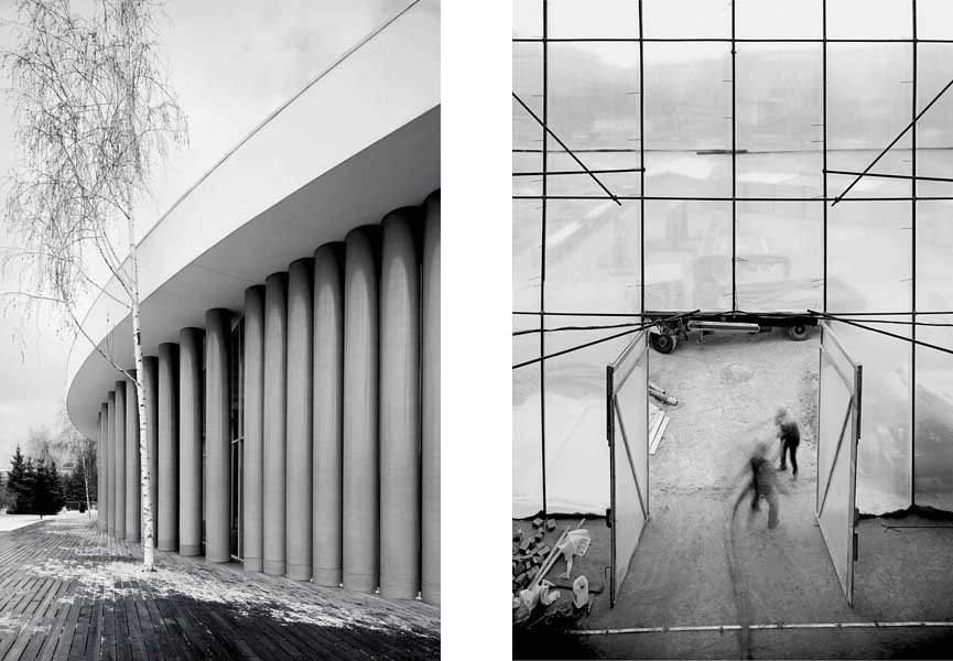 left: Garage's temporary home / right: Resoration team at work, photos by Nicholas Alan Cope for WSJ Magazine