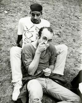 Andy Warhol, Photograph of Keith Haring & Juan Rivera in the Park, 1986