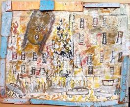 Purvis Young, City Angel, Acrylic on Wood circa 1990