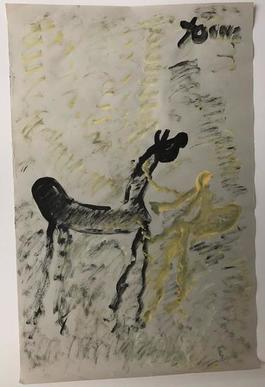 Purvis Young, Painting of a Horse and Pregnant Woman, Acrylic on Newsprint circa 1990
