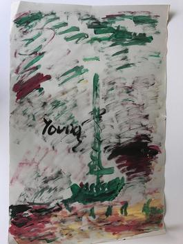 Purvis Young, Painting of a Boat, Acrylic on Newsprint circa 1990