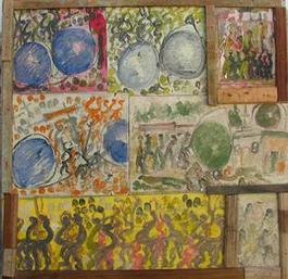 Purvis Young, Seven Scenes with Eye, Painting on Cardboard on Wood