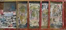Purvis Young, Four Heads and a Truck, Painting on Plywood