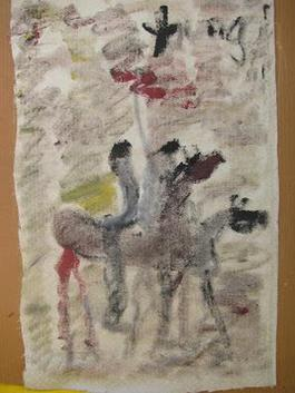 Purvis Young, Painting on Cloth of Three Horses
