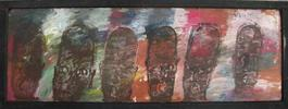 Purvis Young, Six Faces, Painting on Plywood circa 1990