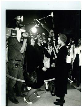 Andy Warhol, Photograph of Bianca Jagger with Press Photographers circa 1980