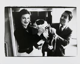 Andy Warhol, Photograph of Paloma Picasso and Raphael Lopez Sanchez with a Dog, 1980