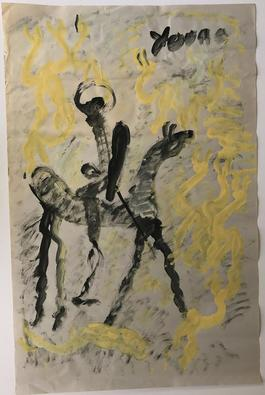 Purvis Young, Painting of a Horse and Rider, Acrylic on Newsprint circa 1990