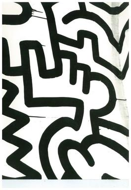 Andy Warhol, Photograph of a Keith Haring Painting Detail (Pop Shop) circa 1983