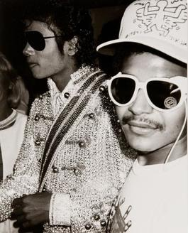 Andy Warhol Photograph of Michael Jackson Eazy-E Wearing a Keith Haring Hat