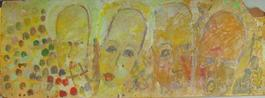 Purvis Young, Four Yellow Angels, Painting on Fiber Board circa 1990