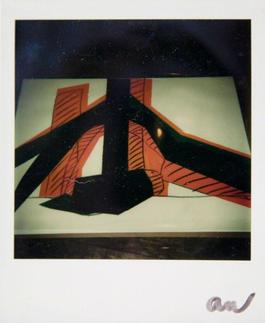 Andy Warhol, Polaroid Photo of a Hammer & Sickle Painting Detail (Black and Orange), 1977
