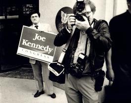 Andy Warhol, Photograph of Richard Weisman at Joe Kennedy Rally, 1986