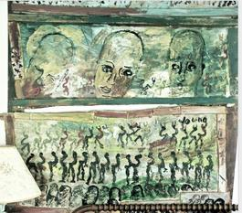 Purvis Young, Green Triptych with Three Angels, Mixed Media circa 1990