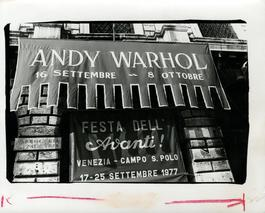 Andy Warhol, Photograph of His Exhibition Banner, Venice, Italy, 1985