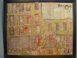 Purvis Young, City Street, Painting on Plywood