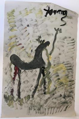 Purvis Young, Painting of a Horse and a Figure, Acrylic on Newsprint circa 1990