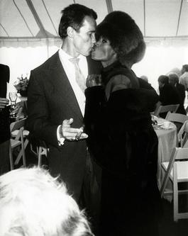 Arnold Schwarzenegger with Grace Jones at his wedding to Maria Shriver, Hyannis Port, MA, 1986