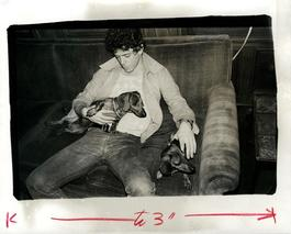 Andy Warhol, Photograph of Lou Reed (The Velvet Underground) with Dachshunds Amos and Archie circa 1976