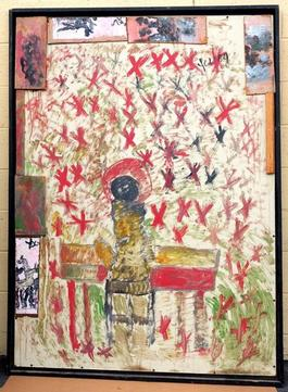 Purvis Young, Jazz Angel, Acrylic on Wood circa 1990
