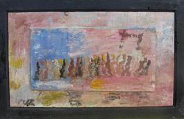 Purvis Young, Single File, Painting on Plywood