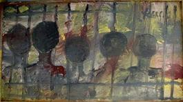 Purvis Young, Five Heads, Painting on Laminate circa 1990