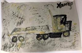 Purvis Young, Painting of a Truck, Acrylic on Newsprint circa 1990