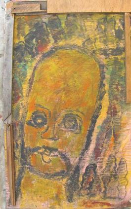 Purvis Young, Head with Mustache, Painting on Plywood