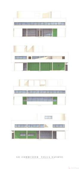 Villa Savoye, Four Elevations