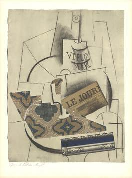 Bottle of Vieux Marc, Glass and Newspaper