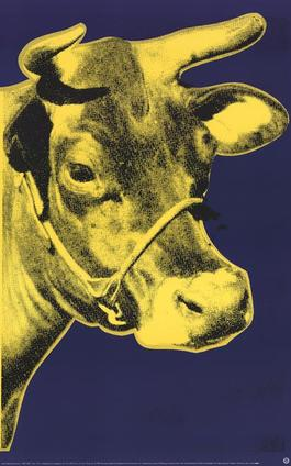 Cow Yellow on Blue Background (sm)