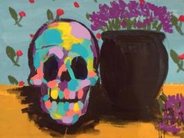 Skull Still Life Purple Flowers I