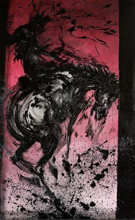 Horse & Rider - Bucking Red