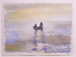 Untitled (seascape with rowboat)