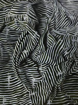 Swirly White Stripes on a Dark Olive Garment
