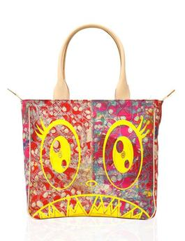 Canvas Handbag - Red Skulls / Yellow / Flowers Interior *