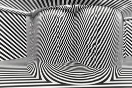 Espace a penetrer avec trame et miroir courbe (Variation du labyrinthe de 1963)