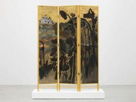Decorative screen for the solarium of a homosexuals home (Fading sunflowers)