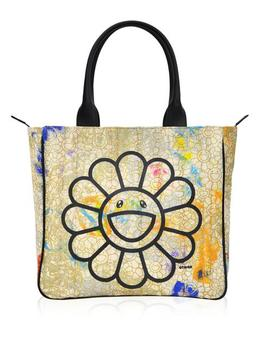 Canvas Handbag - Gold Flowers / Black / Skulls Interior *