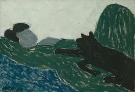 Reclining Woman with Black Cat (65-1A)