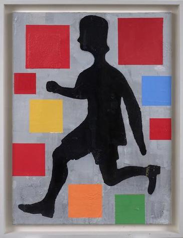 Five Color Abstraction with Running Figure