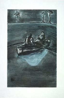 Two People at Night (indigo)