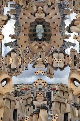 Gaudi Rooftop, after Constantin Brancusi