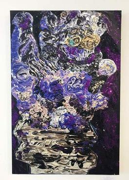 """Fudogs Sur Noir Apres """"Starry Night"""" Par Vincent Van Gogh"""