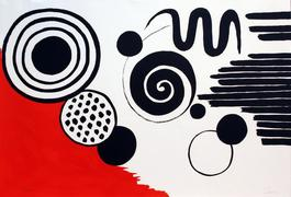 Composition with Black Spirals and Circle with Red