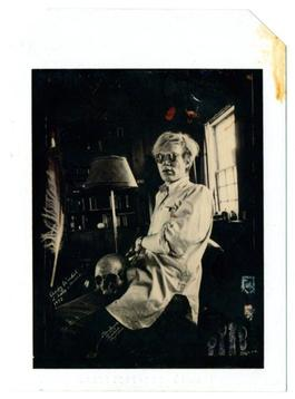 Andy Warhol at Home with Skull 1972