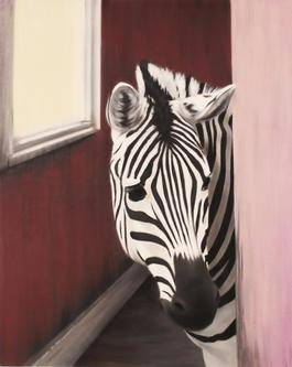 Zebra in a Pink House